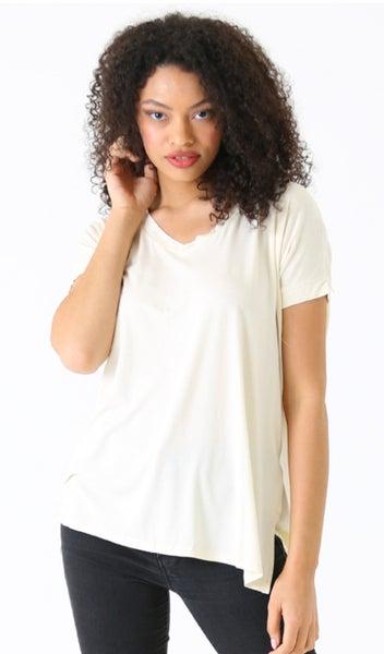 Cream V-Neck Short Sleeve Top