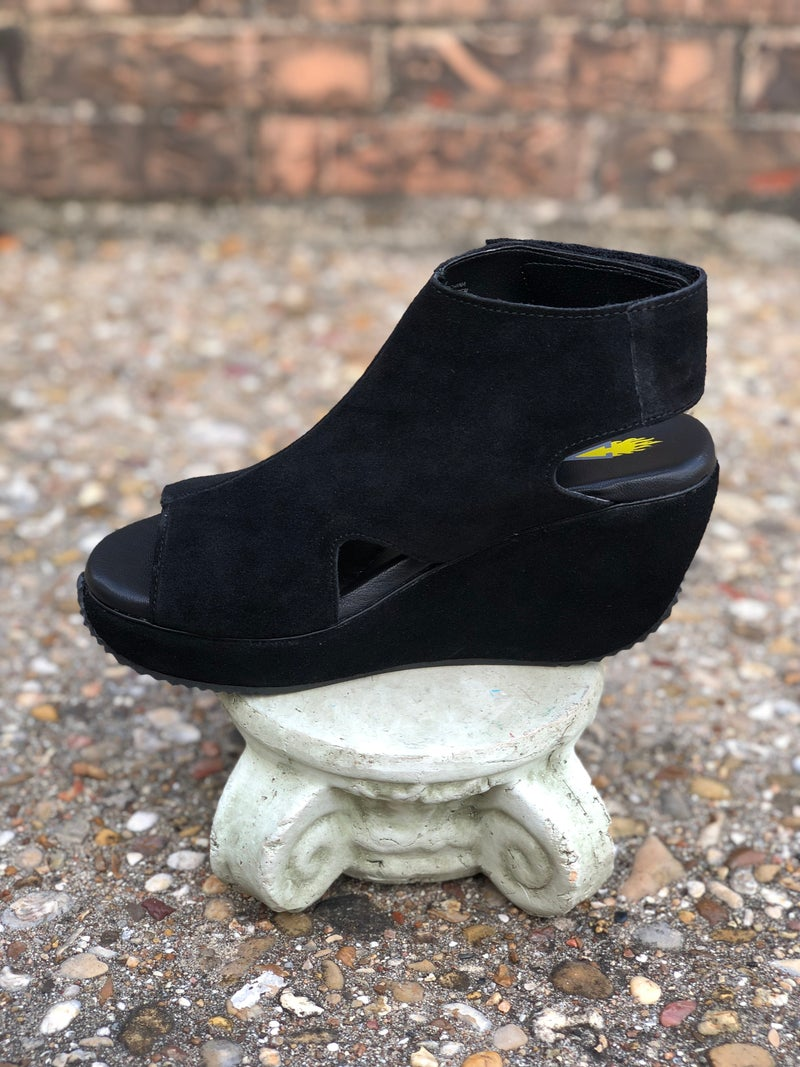 Black Welch Peep Toe Wedge w/Velcro Closure SIZE