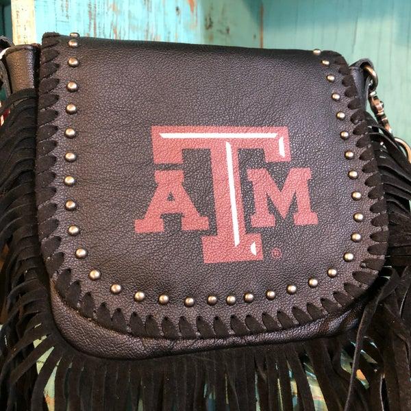 Texas A&M Black Leather Fringe Crossbody Bag