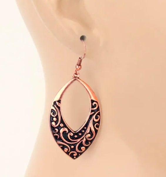 Copper Patterned Teardrop Dangle Earrings