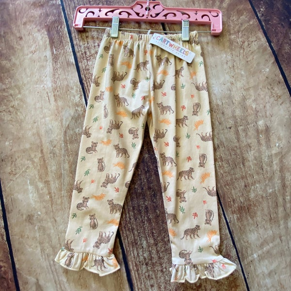 Cheetah Safari Print Ruffle Pants