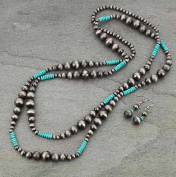 60″ Navajo Style Pearl Necklace Set