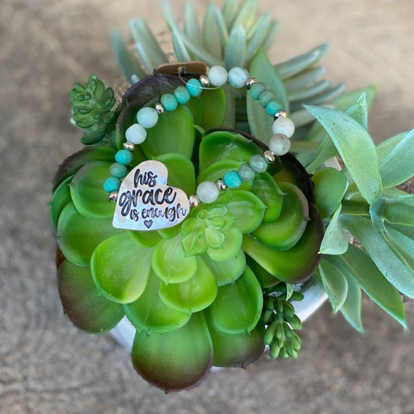 His Grace Is Enough Heart Turquoise Stretch Bracelet