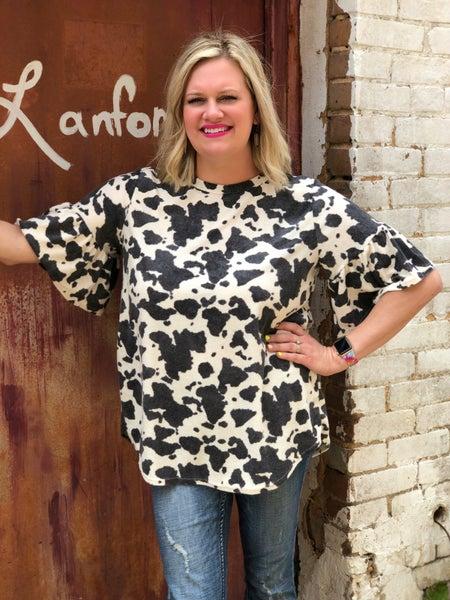 Cow Print Ruffle Sleeve Top