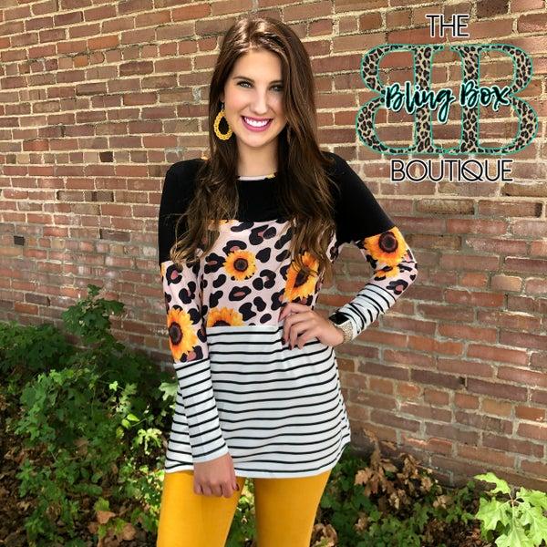 Long Sleeve Sunflower Leopard Striped Top