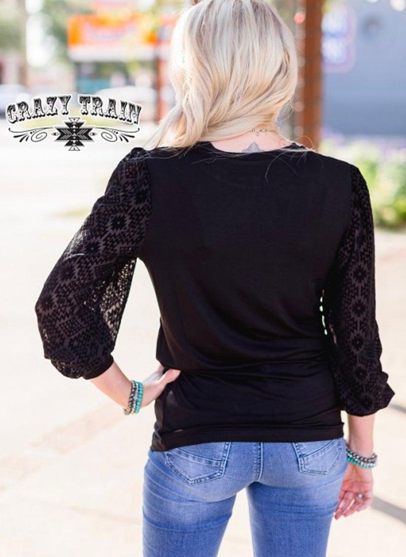 Dally Detail Sheer Aztec Sleeve Black Top