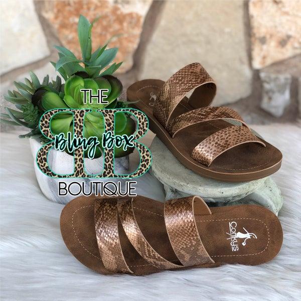 Corkys Lydia Bronze Snake Sandals