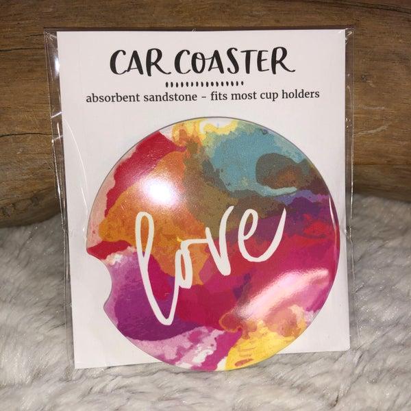 Love Watercolor Sandstone Car Coaster