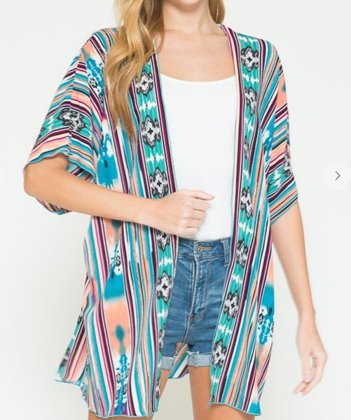 Jade Aztec Mix Printed Kimono