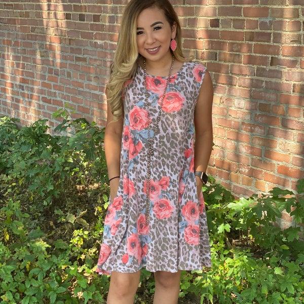 Coral Floral Leopard Print Dress w/Pockets
