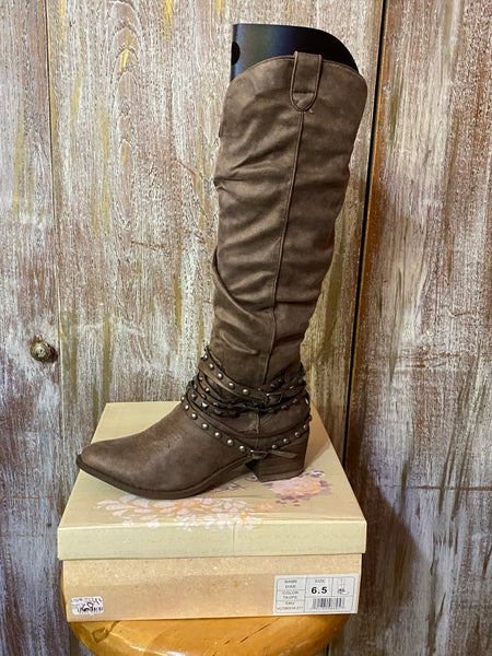 Very G Dixie Taupe Tall Boots SIZE