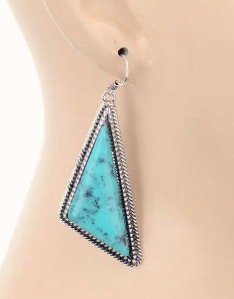 Scalene Turquoise Stone Dangle Earrings