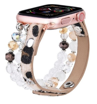 Leopard Calf Leather and Crystal Apple Watch Band 38 mm