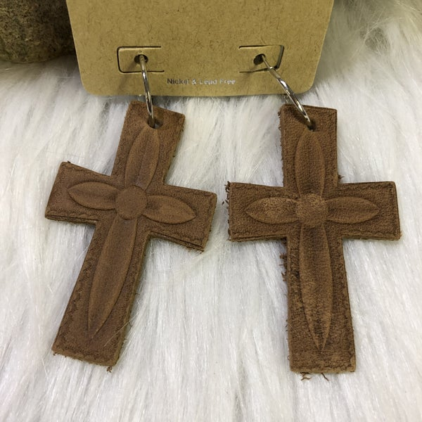 Leather Tooled Cross Earrings on Silver Hoop