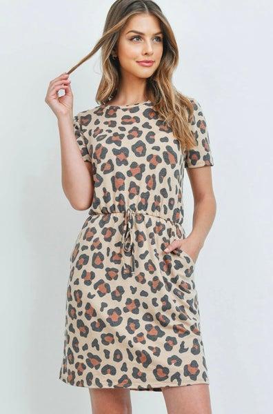 Khaki Leopard Print Dress w/Pockets