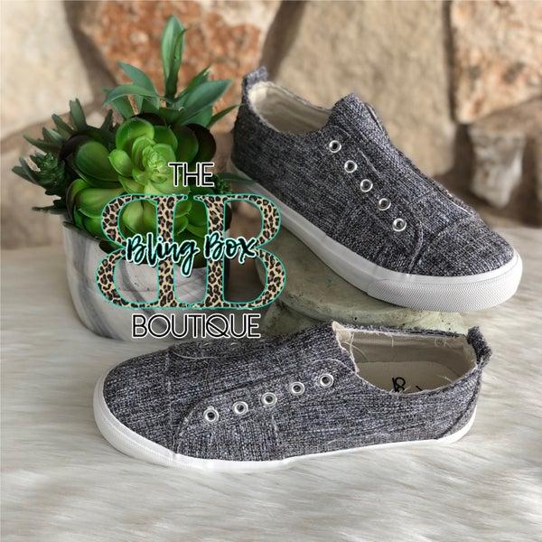 Babalu Grey Tweed Slip on Sneakers