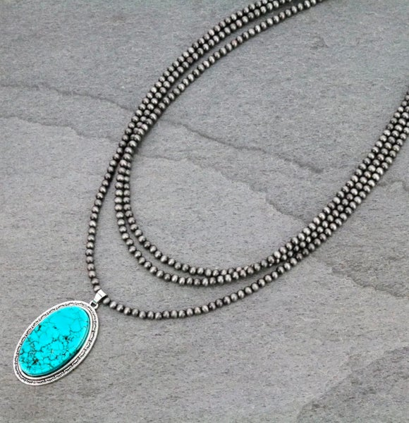 """3 Strand 18"""" Navajo Pearl Turquoise Oval Necklace"""