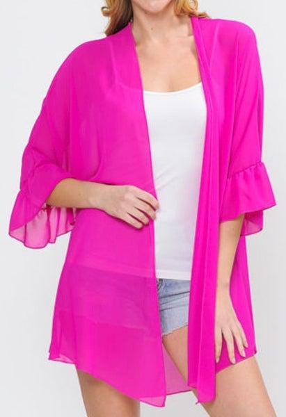 Pink Sheer Ruffle Sleeve Kimono