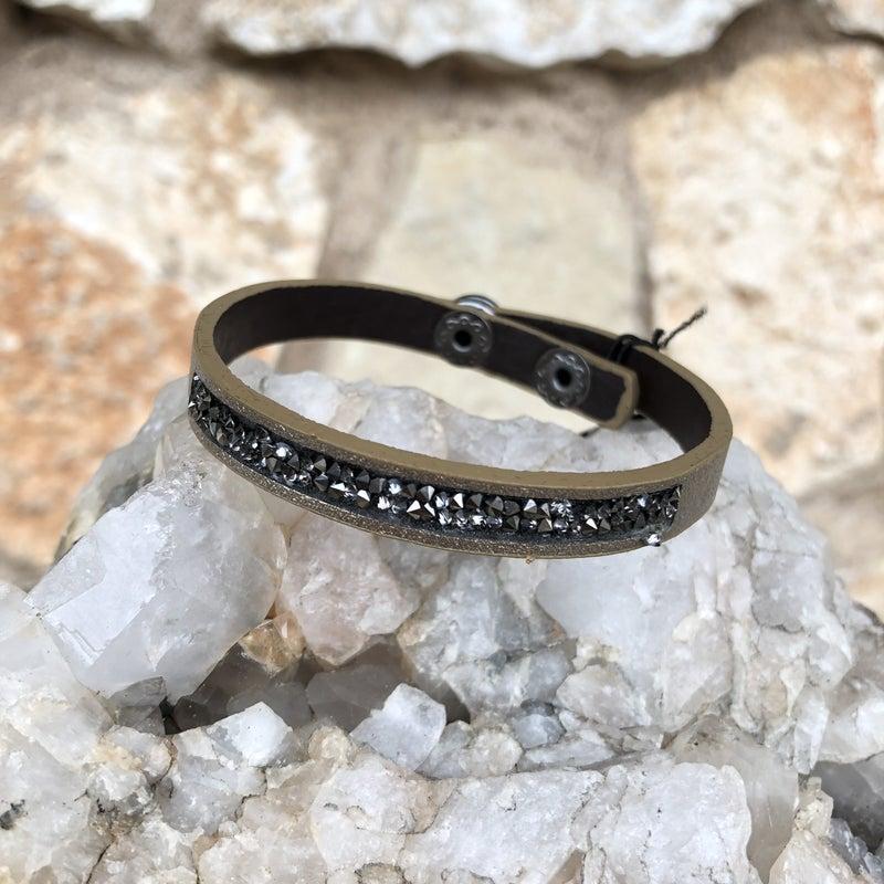 Gold Leather Snap Crystal Bracelet