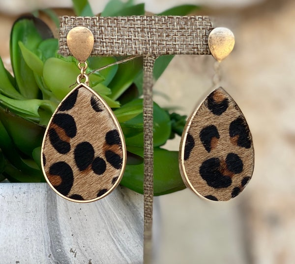 Leopard Cowhide Teardrop Gold Post Earrings