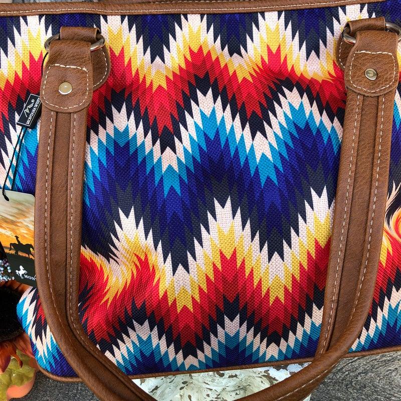 Serape Chevron Striped Canvas Tote Bag