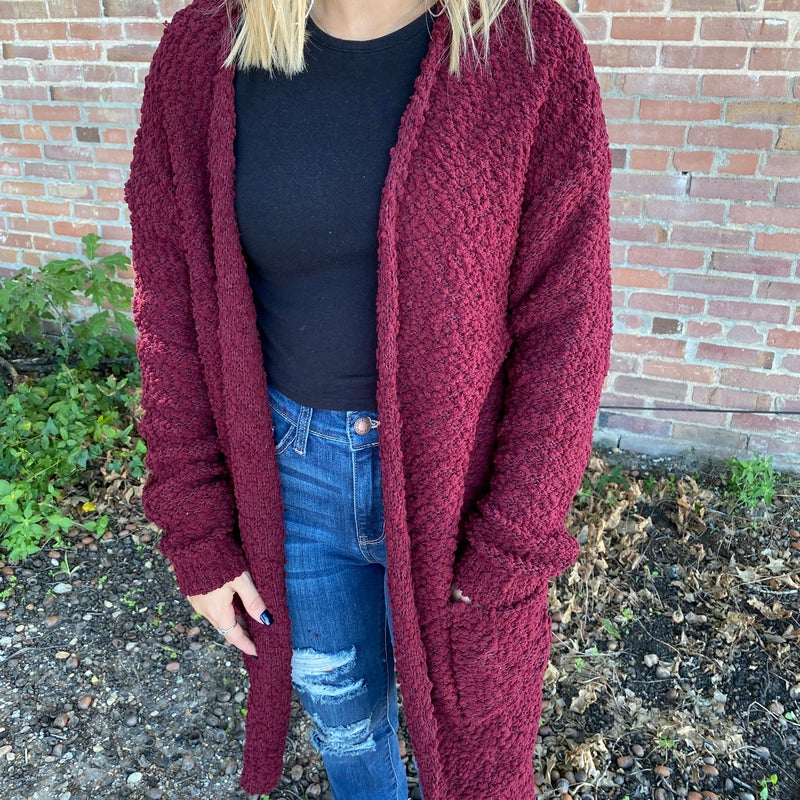 Burgundy Popcorn Style Cardigan with Pockets