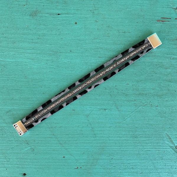 Grey Leopard Bling Magnetic Bracelet