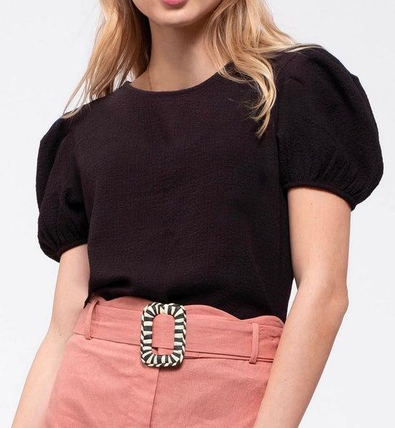 Black Woven Short Puff Sleeve Top