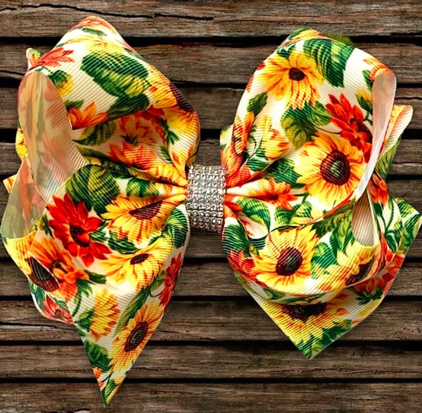 "Sunflower Print Rhinestone Hair Bow 7.5"" W"
