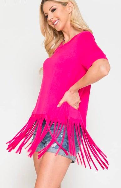 Fuchsia Fringe Short Sleeve Top
