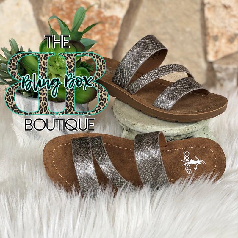 Corkys Lydia Silver Snake Sandals