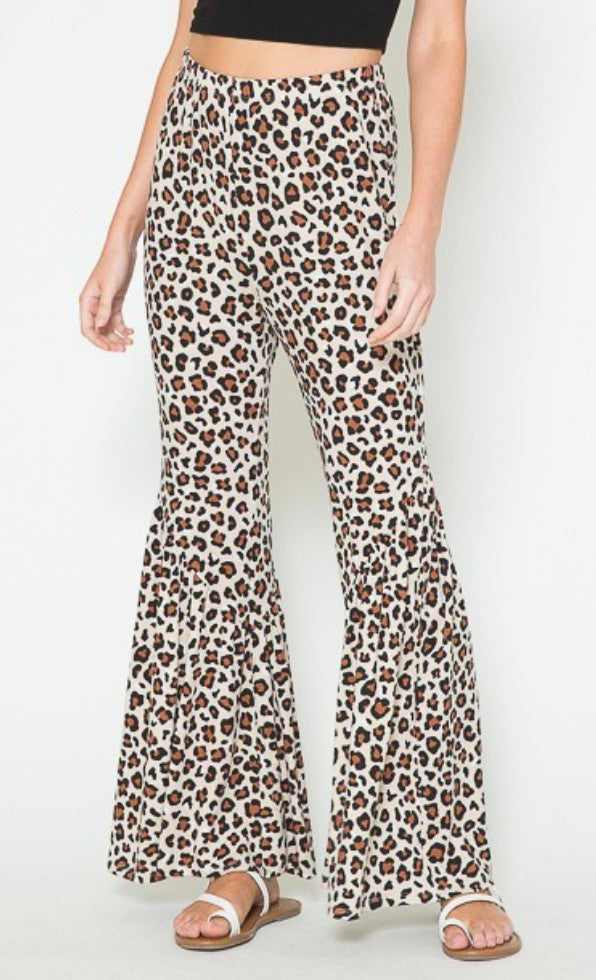 Flared Leopard Print Stretch Waist Pants