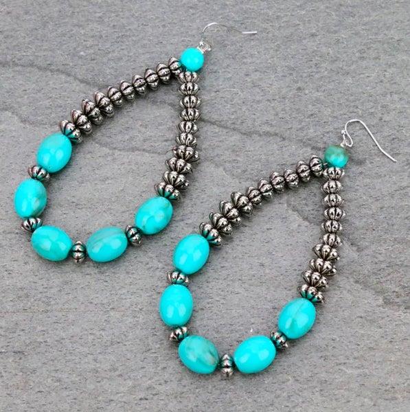 "3.7"" Long Silver & Acrylic Turquoise Beaded Earrings"