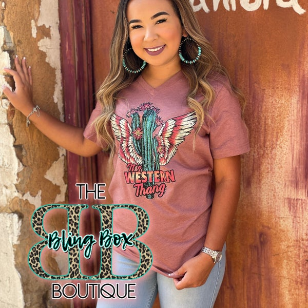 It's a Western Thing V-Neck Mauve Tee
