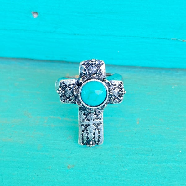 Turquoise Stone Cross Stretch Ring