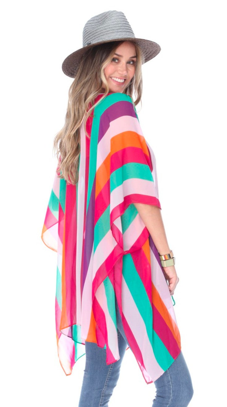 Multi Striped Sheer Kimono