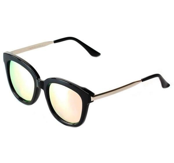 Women's Oversize Mirrored Lens Horned Rim Sunglasses