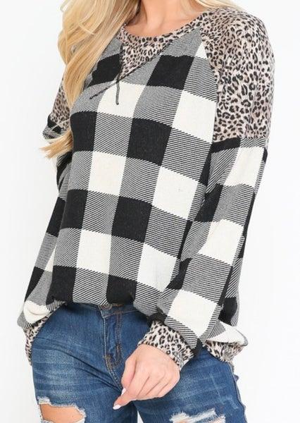Black Plaid & Leopard Long Sleeve Top