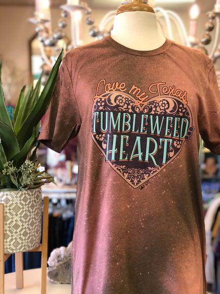 Love My Texas Tumbleweed Heart on Rust Acid Wash Tee