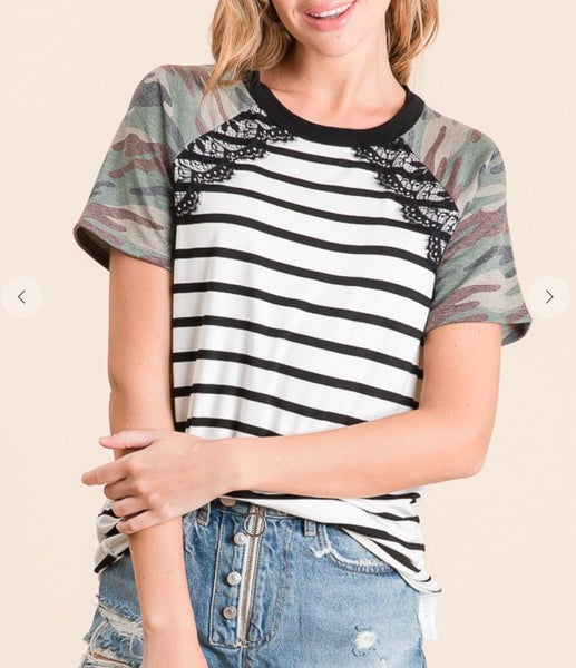 Camo Sleeved Lace Trim Striped Top