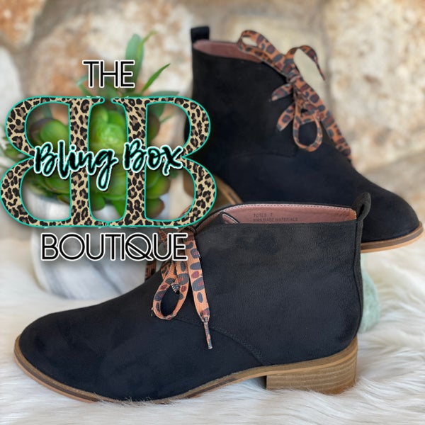 Corkys Black Totes Lace Up Booties