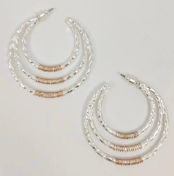 Destiny Silver 3 Hoop Post Earrings