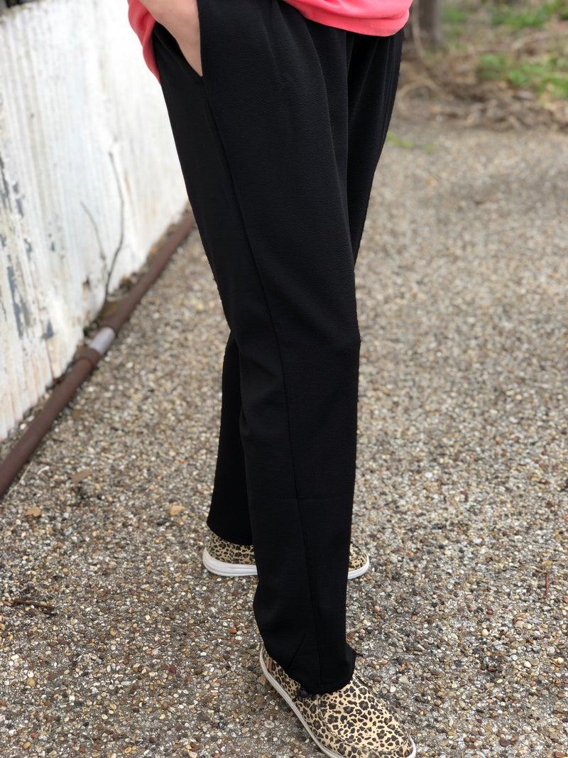 Black Hukuro Pants with Stretch Waist & Pockets