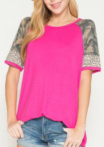 Hot Pink Camo Leopard Sleeve Tunic
