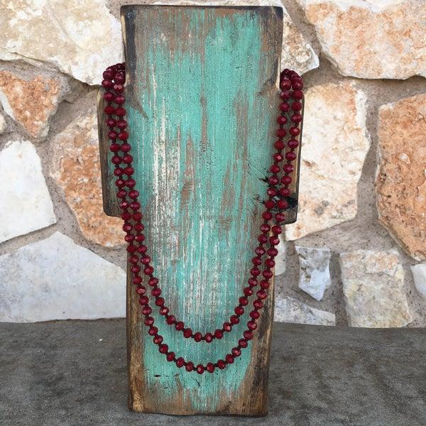 "Dark Maroon 60"" Long Beaded Crystal Necklace"