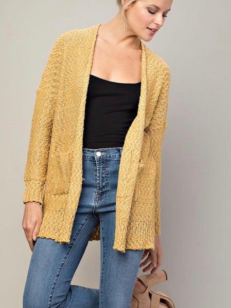 Mustard Open Front Knit Cardigan with Pockets