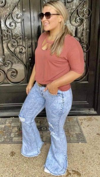 Umgee Light Stone Washed Raw Hem Bell Bottom Jeans