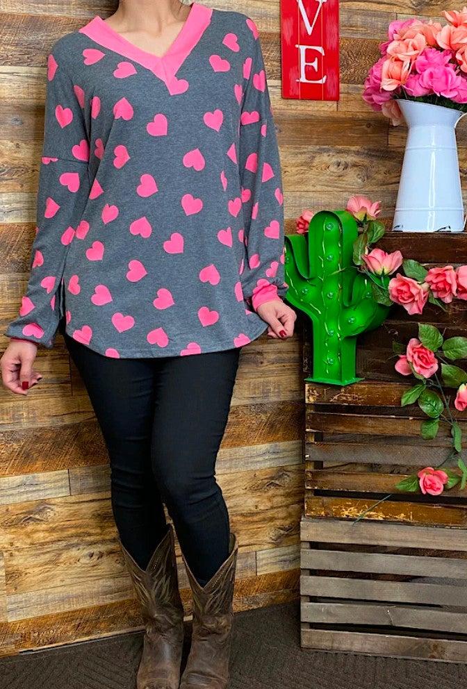 Hot Pink Heart Printed Long Sleeve V-Neck Top