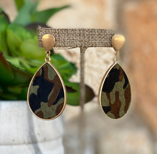 Camo Cowhide Teardrop Gold Post Earrings