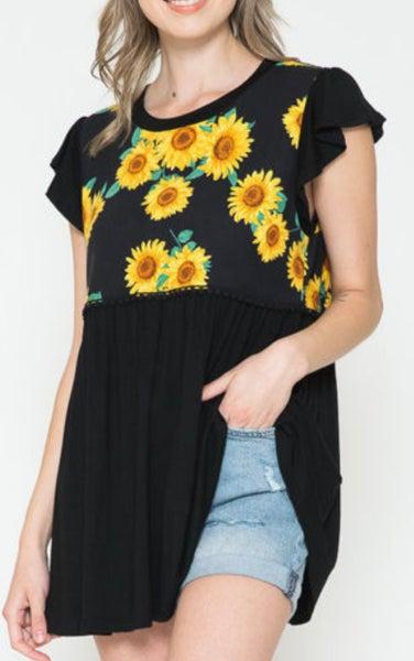 Babydoll Style Sunflower Print Tunic